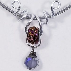 Aluminum Silver Spiral Pendant Iridescent Purple